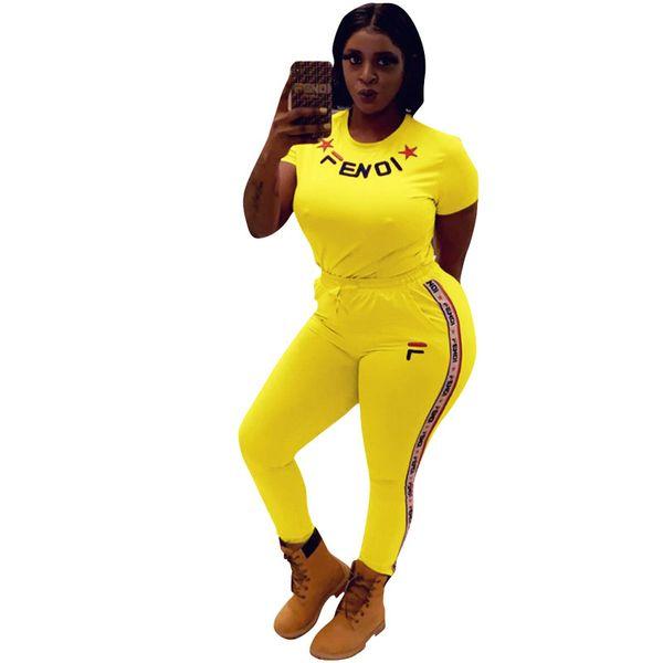 Women designer brand 2 piece set jogging suit tshirt short sleeve crew neck bodycon leggings ankle length pants summer clothes plus size 742