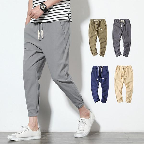Harem de algodón de lino Joggers Negro Hombres de Harajuku aptitud casual hasta los tobillos para hombre Pantalones de verano Streetwear Ropa de hombres