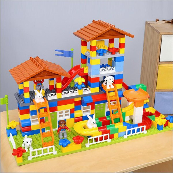 Blocks 89-178 PCS DIY Colorful City House Roof Big Particle Building Blocks ABS Plastic Castle Educational Toy For Kid Birthday Gift