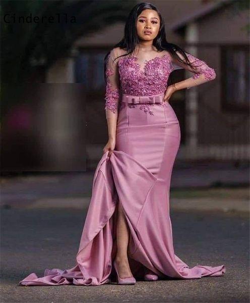 Cinderella Lavender Long Sleeves Silk Satin Mermaid Lace Applique Crystal Beaded Evening Dresses vestidos de fiesta de noche