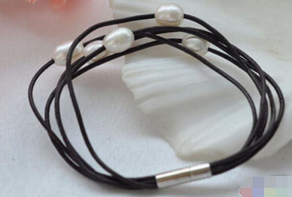 """FREE SHIPPING ++ 5row 8"""" 12mm white rice freshwater pearl hide rope bracelet"""