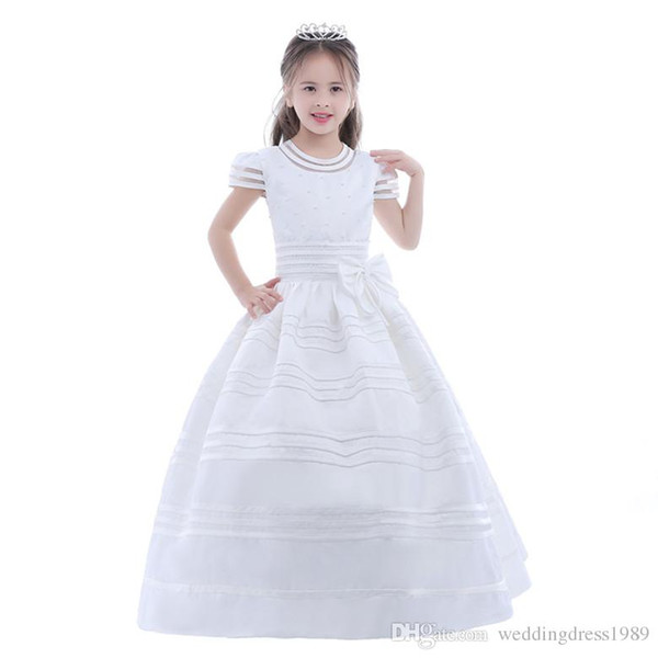 Ivory Chiffon Long Floor Length Flower Girls Dresses For Weddings A Line Short Sleeve Custom Made Cheap First Communion Gowns