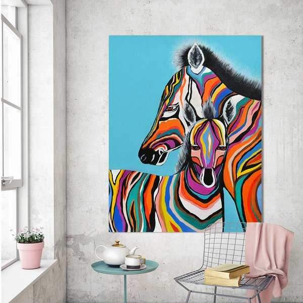 1 Pcs Wall Art Picture Canvas Print Animal Oil Painting Zebra Picture For Bedroom Living Room Home Decor