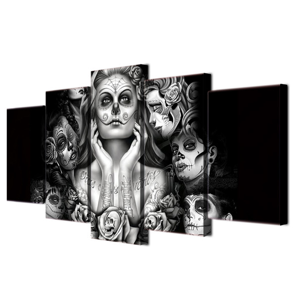 Sugar Skull Girl Canvas,5 Pieces Canvas Prints Wall Art Oil Painting Home Decor (Unframed/Framed)