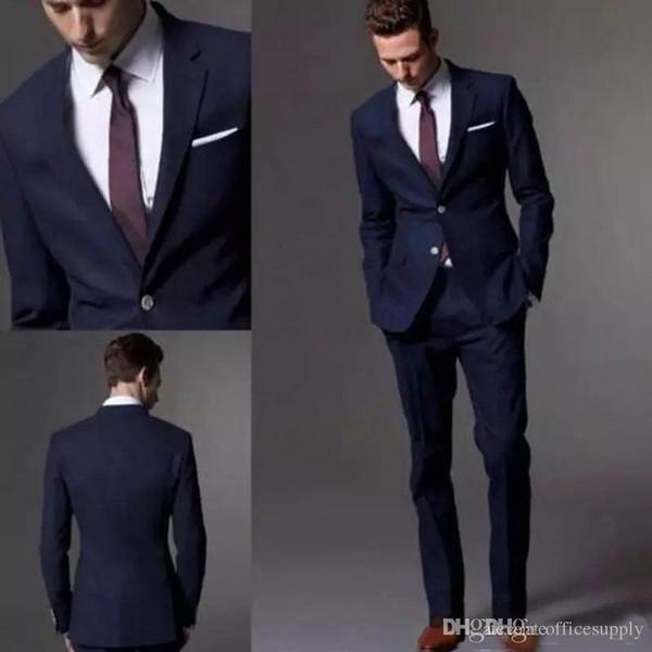 Groom Costume Custom Made Dark Navy Blue Black Men Suit 2019 Fashion Groom Suit Wedding Suits For Men Slim Fit Groom Tuxedos (Jacket+Pants)