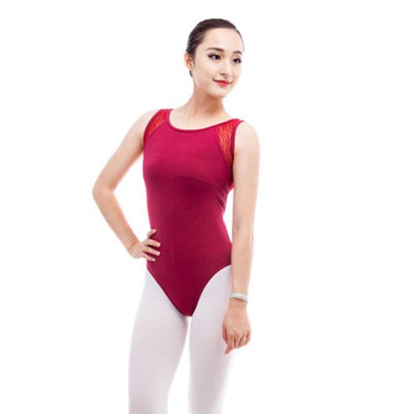 Kadınlar için tulum için dantel Kolsuz Bale Leotard Siyah Şarap Kırmızı Pamuk Spandex Ault Jimnastik Leotard Kızlar Bale Dancewer