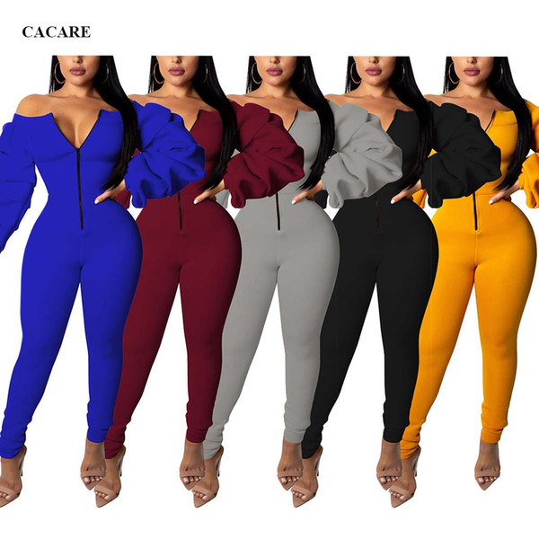 Jumpsuit Elegant 2019 Bodysuit Plus Size Bodies Ladies Body Long Sleeve Black Yellow Blue Gray Red Choices F2906 Puff Sleeve