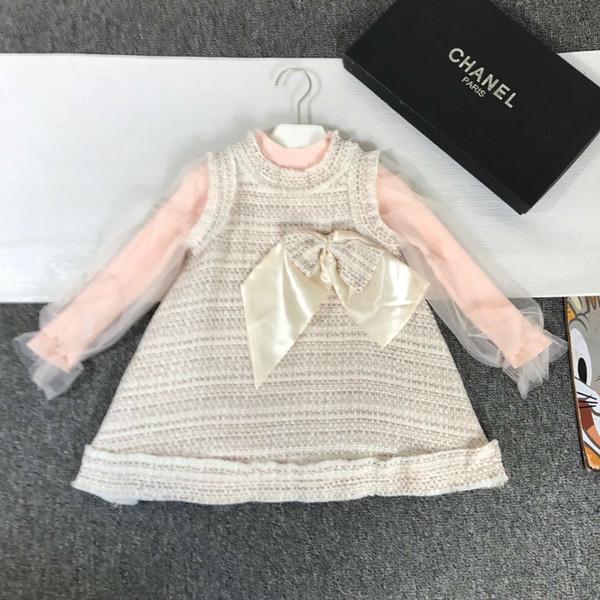 Niñas niños fijados ropa de diseño juego de la manga del diseño del acoplamiento niña grande la decoración del arco suéter nuevo chaleco + falda 2pcs de la moda otoño de 2019