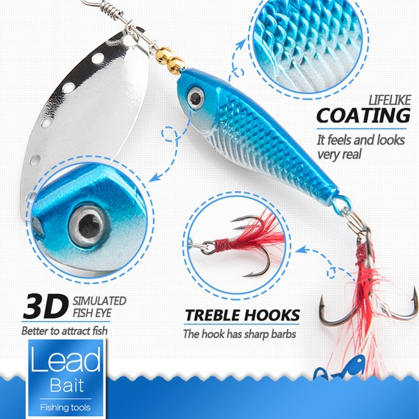 Spinner Metal Spoon Fishing Lure 13g 16g Sequin Artificial Wobbler Fishing Bait With Strong Treble Hooks Lures