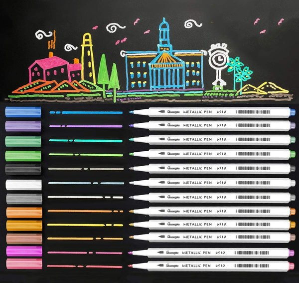 2019 For Metallic Marker Pens Set Drawing Painting For Scrapbooking Crafts Card Making And Diy Photo Black Paper Painting From Huweilan 43 2