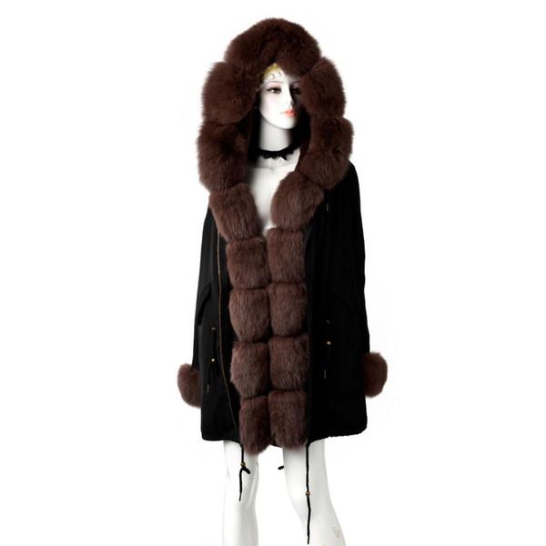 TOPFUR 2019 Fashion Real Fur Coat Women Black Parka Women Winter Natural Real  Fur Parka With Hood Outwear Brown Parkas