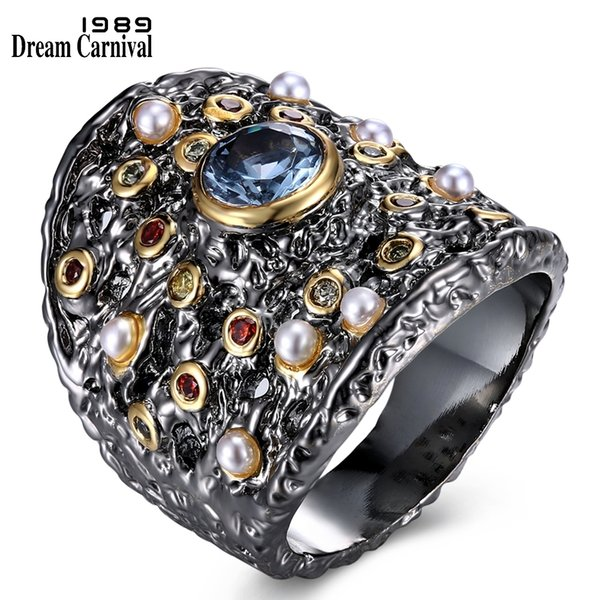 Dreamcarnival 1989 Gorgeous Big Women Ring Blue Zircon Matching With Colorful Cz And Beads Party Jewlery Set Available Wa11584 Y19051002