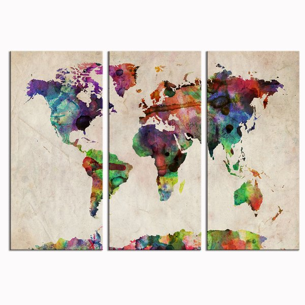 Abstract World Map Modern Artwork for Walls Simple Life Painting Home Decorations for Living Room Canvas Wall Art No Framed 3 Pieces