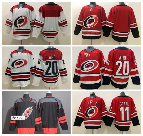 Hockey sobre hielo Hombres Sebastian Aho Carolina Hurricanes Jerseys Staal Rojo Blanco Negro Local Visitante Bordado y costura transpirables