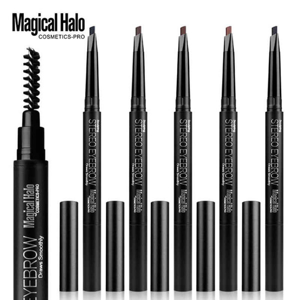 DROP ship 12pcs/lot Magical Halo double head Professional Automatic Eyebrow Pencil Liner Eye Brow Pen with Brush Makeup Tools