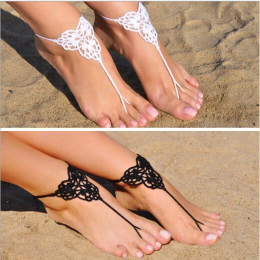 Pair Sexy Bikini Decor Bride Swimsuit Dancing Anklet Crochet Hook Yoga Toe Footwear Swim Chain Handmade Ankle Chain Beach Wedding Anklet