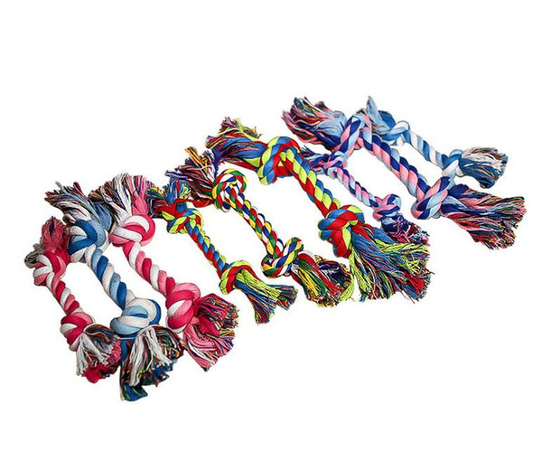 top popular Pets dog Cotton Chews Knot Toys colorful Durable Braided Bone Rope 18CM Funny dog cat Toys Free Ship 2021