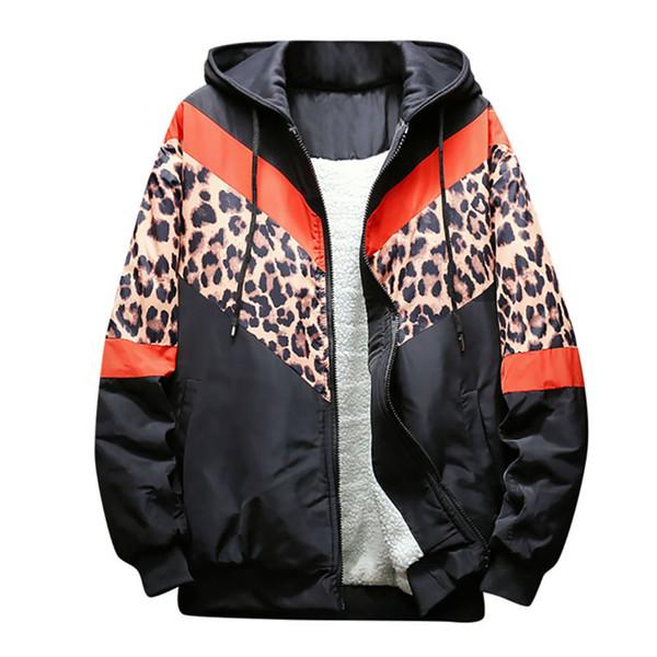 Großhandel Laufjacken Männer Leoparden Nähte Lose Schulterhülse Gepolsterte Baseball Jacke Verdickt Warme Sport Mode Männer Mantel # 2N19 Von