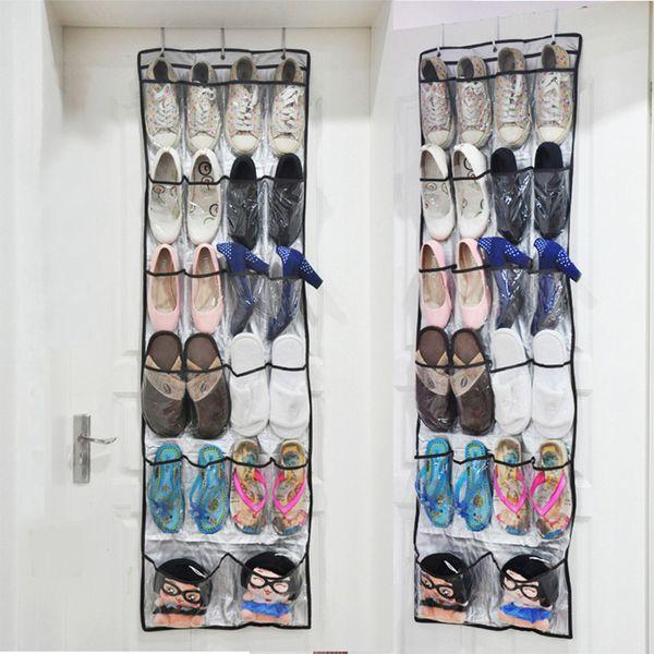 Kapının Arkasında 22 Cepler Ayakkabı Depolama Rafları Asılı Ayakkabı Olmayan Dokuma Depolama Tutucular Hooks Ile Katlanabilir Ayakkabı Organizatör Çanta DBC DH0964