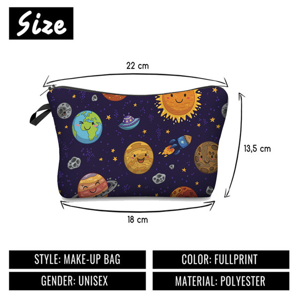 Bolso cosmético de impresión digital patrón de tierra de dibujos animados con bolsos de mujer bolsa de almacenamiento de viaje multifuncional