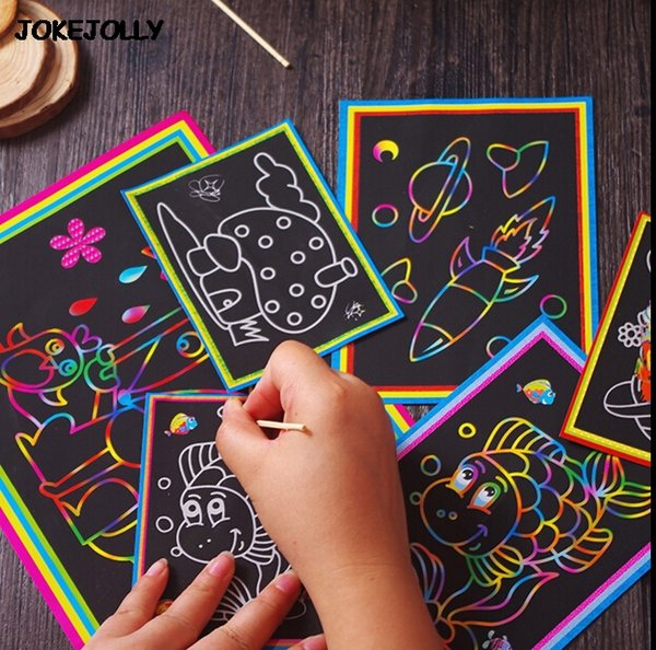 top popular Two-in-one Magic Color Scratch Art Paper Coloring Cards Scraping Drawing Toys for Children kids GYH 2019