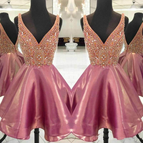 Modest 2019 V-neck Homecoming Dresses With Beads Crystal Cheap Arabic Bridesmaid Short Prom Dress Cocktail Party Club Wear Graduation