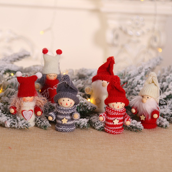 Christmas Tree Knitted Doll Decorations Boy/Girl/Old Man Hanging Pendant Holiday Indoor Party Favor Seasonal Decor