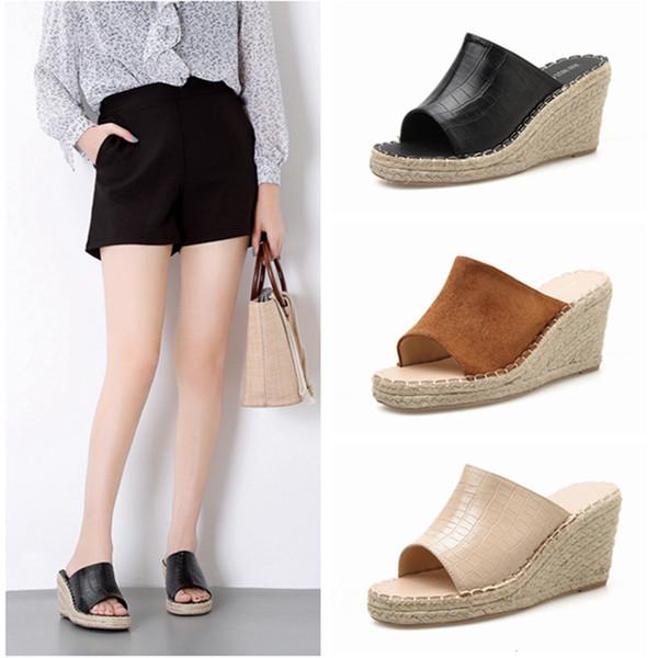 Neue Frauen Hausschuhe Hausschuhe mit hohen Absätzen Weiblicher Sommer Neue Frauen Schuhe Wedge Weave Female Sandals Versand innerhalb 36 Stunden