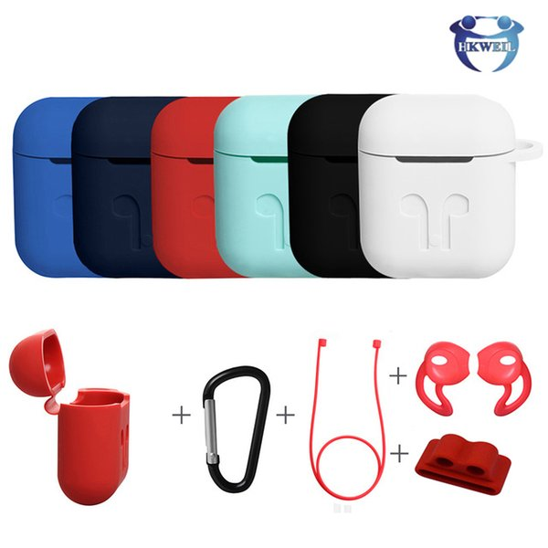 Earphone Protector Case For Airpods With Keychain Rope Thicken Silicone Cases For Air Pods Wireless Bluetooth Headphones