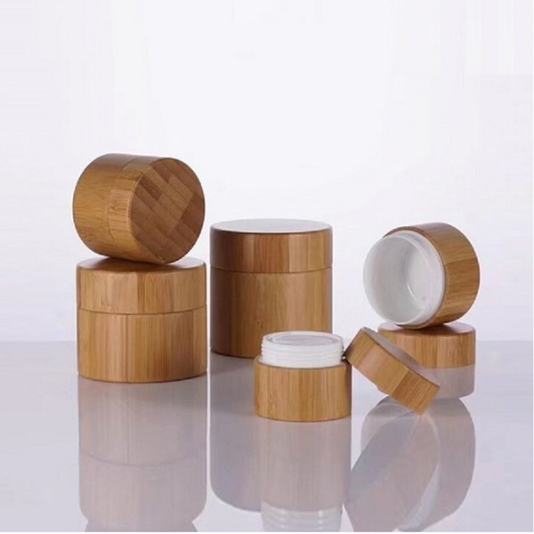 30pcs Bamboo Cream Jar PP Plastic Container 10G 20G 30G 50G Empty Refillable Bottle Cosmetic Packaging Pot Bamboo Wooden Jar Free shipping