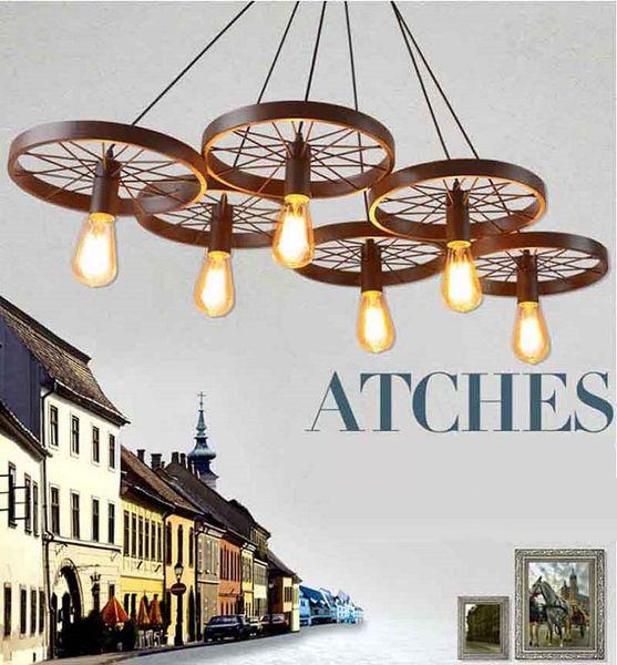 Newest Hot Russia Pendant Light Vintage Industrial Lamp Nordic Metal Wheel Lights Loft Dining Room Lighting led lights chandelier lighting