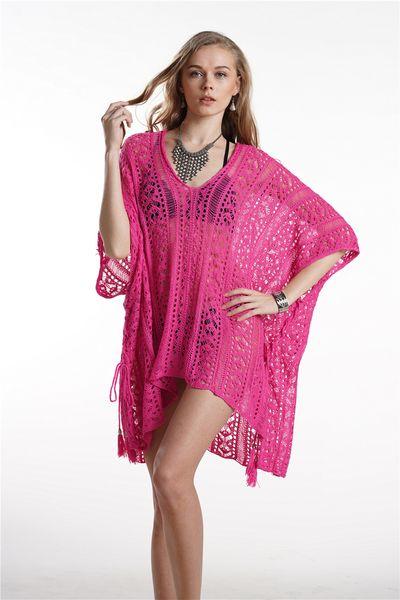 2019 DHL Women's V-Neck Plus Size Short Loose Knitted Beach Dresses Summer Swimsuit Bikini Beach Swimwear Cover up