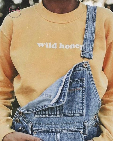 Miel sauvage manches longues ras du cou Sweatshirts Vêtements unisexe SAVANA Tumblr Graphique Sueurs Hauts Mode Femmes Tenues Jumper