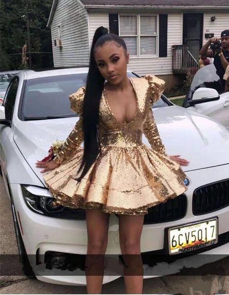2020 Black Girl Sexy scollo a V oro paillettes abiti da cocktail Puffy spalla Pad Breve abiti da ballo a maniche lunghe Homecoming Abiti
