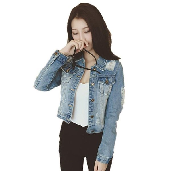 Yiwa Women Ripped Denim Jacket Fashionable Long Sleeve Denim Short Coat Top Short Casual Women Coat Long Sleeve Outerwear