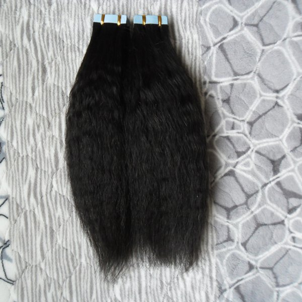 40pcs Kinky Straight skin weft tape hair extensions 100g coarse yaki tape in remy india hair extensions