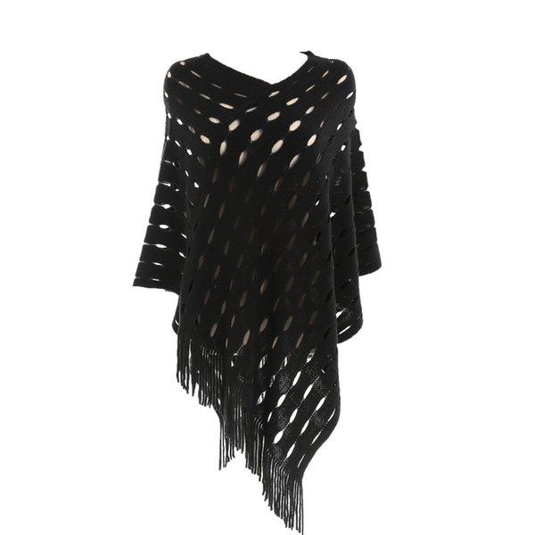 Женщины сексуальный плюс размер осенняя дыра сплошной кисточкой пуловер кашемировые шали женские топы