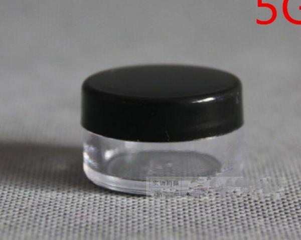 Оптово-100PCS / LOT-5G черная кремовая банка, пустая пластиковая косметическая тара, прозрачная банка, небольшой образец для макияжа