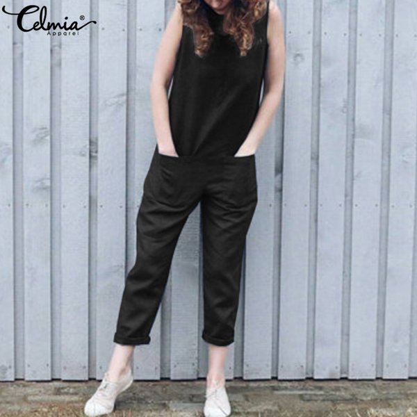 2019 Summer Rompers Celmia Vintage Women Jumpsuits Casual Sleeveless Linen Harem Trousers Loose Playsuit Solid Plus Size Overall