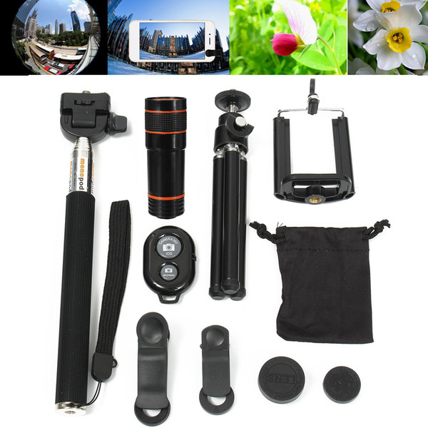 Uninversal All in 1 Accessories Phone Camera Lens Travel Kit 12X Zoom Telescope Tripod Clip For iPhone 8 X 7 6 for Samsung S9