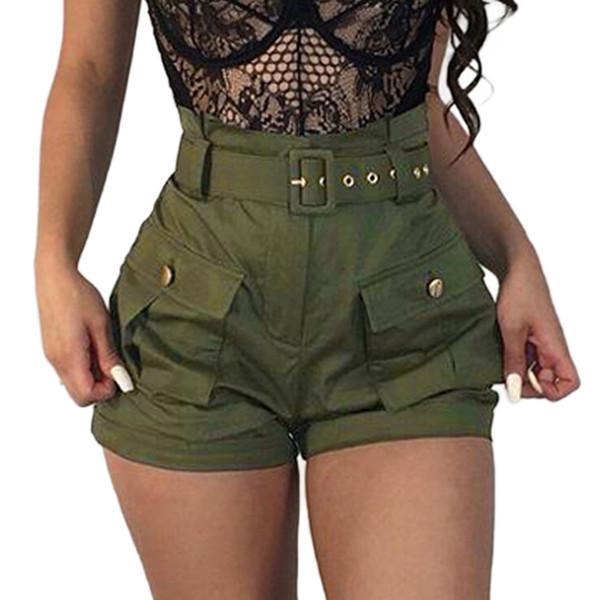 2019 shorts femmes shorts d'été filles poches poches larges femmes vert pantalon court salopette salopette avec ceinture culotte #T