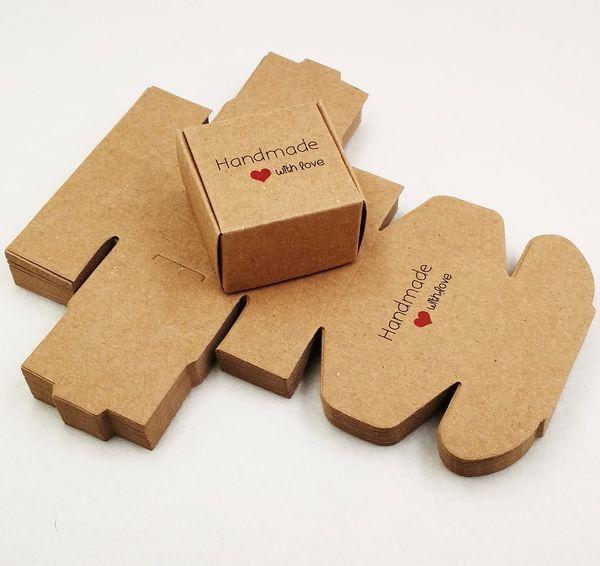 50 pezzi 4 * 4 * 2,5 cm confezione regalo aereo marrone confezione di carta kraft scatola fatta a mano amore matrimonio \ artigianato \ torta \ sapone fatto a mano \ scatole di caramelle
