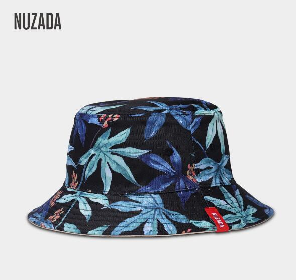 e1940504fe1 NUZADA Brand Printing Men Women Fisherman Hats Couple Bucket Hat Summer  Autumn Spring Shade Cotton Caps Double Sided Can Be Worn