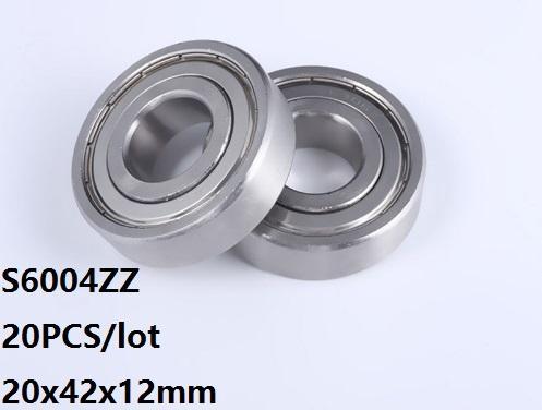 20pcs / lot S6004ZZ tendo 20 * 42 * 12 milímetros de aço S6004Z S6004 Z ZZ inoxidável 20x42x12mm tendo profunda esferas do sulco