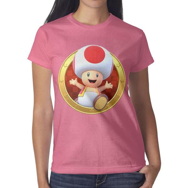 Womens design printing Super Smash Bros badge logo pink t shirt design personalised graphic superhero band shirts slim fit t shirt cute n