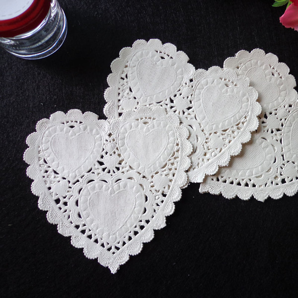 4inch 10cm Heart Shape Paper Doilies Party Cake Doyleys Vintage Coasters Placemat Craft Wedding Christmas Table Deco 500pcs