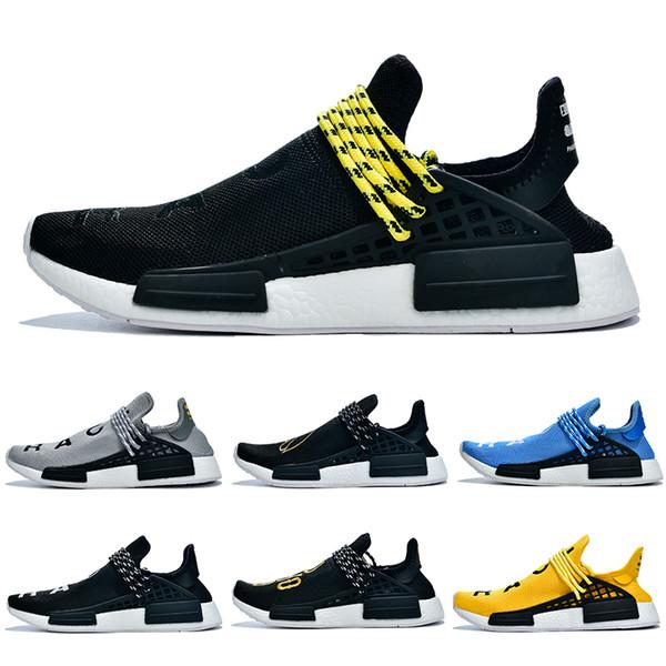 Adidas PW HU Holi NMD MC Nuova razza umana hu Pharrell Williams uomini donne scarpe da ginnastica nere NERD mens della tela di canapa Homecoming pacchetto solare Madre