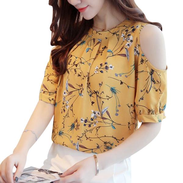 Ombro Frio Chiffon Floral Impresso Blusa Camisa Mulheres Tops de Verão Elegante Plus Size Senhoras Coréia Blusas Blusas Femininas