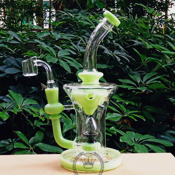Beaker Bong 10inch color smoking Klein Recycler Pink glass bong oil rig purple green blue black glass water pipes tall helix hitman bongs
