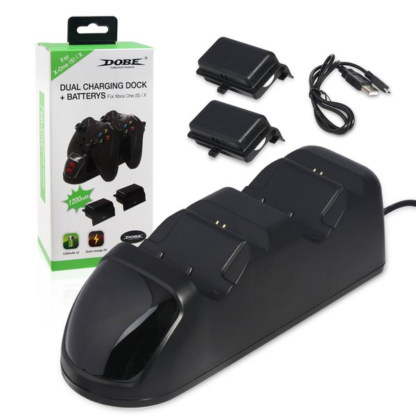 Hot sale Controller Charger For Xbox One / Xbox One S / Xbox One X Dual Gamepad Charging Station Dock with 2 Rechargeable Battery Pack free